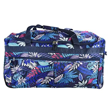 b8e70428e653 ASAB Extra Large Light Wheeled Travel Holdall Suitcase Floral Leaf Pattern Luggage  Trolley Duffel Bag Zip