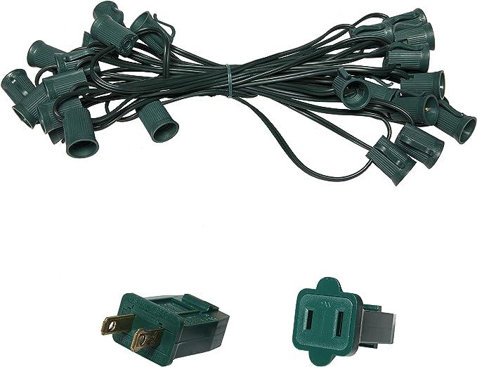 25 C9 Commercial Light Stringer Spt1 Green Wire E17 Sockets 12 Socket Spacing Outdoor String Light Christmas Stringer 25 Sockets Fits C9 Size Garden Outdoor