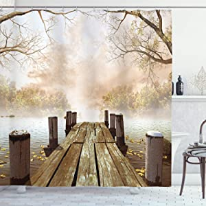 Ambesonne Autumn Shower Curtain, Old Wooden Jetty on a Lake with Fallen Leaves and Foggy Forest in Distance, Cloth Fabric Bathroom Decor Set with Hooks, 84