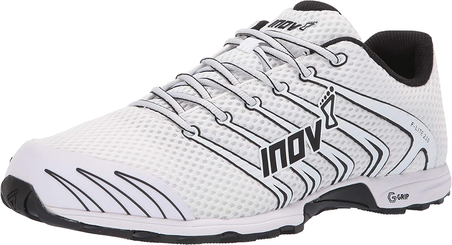 INOV-8 F-Lite 230 – Minimalist Cross Training Shoes – Classic Model – Graphene Grip – White Black 7 M US
