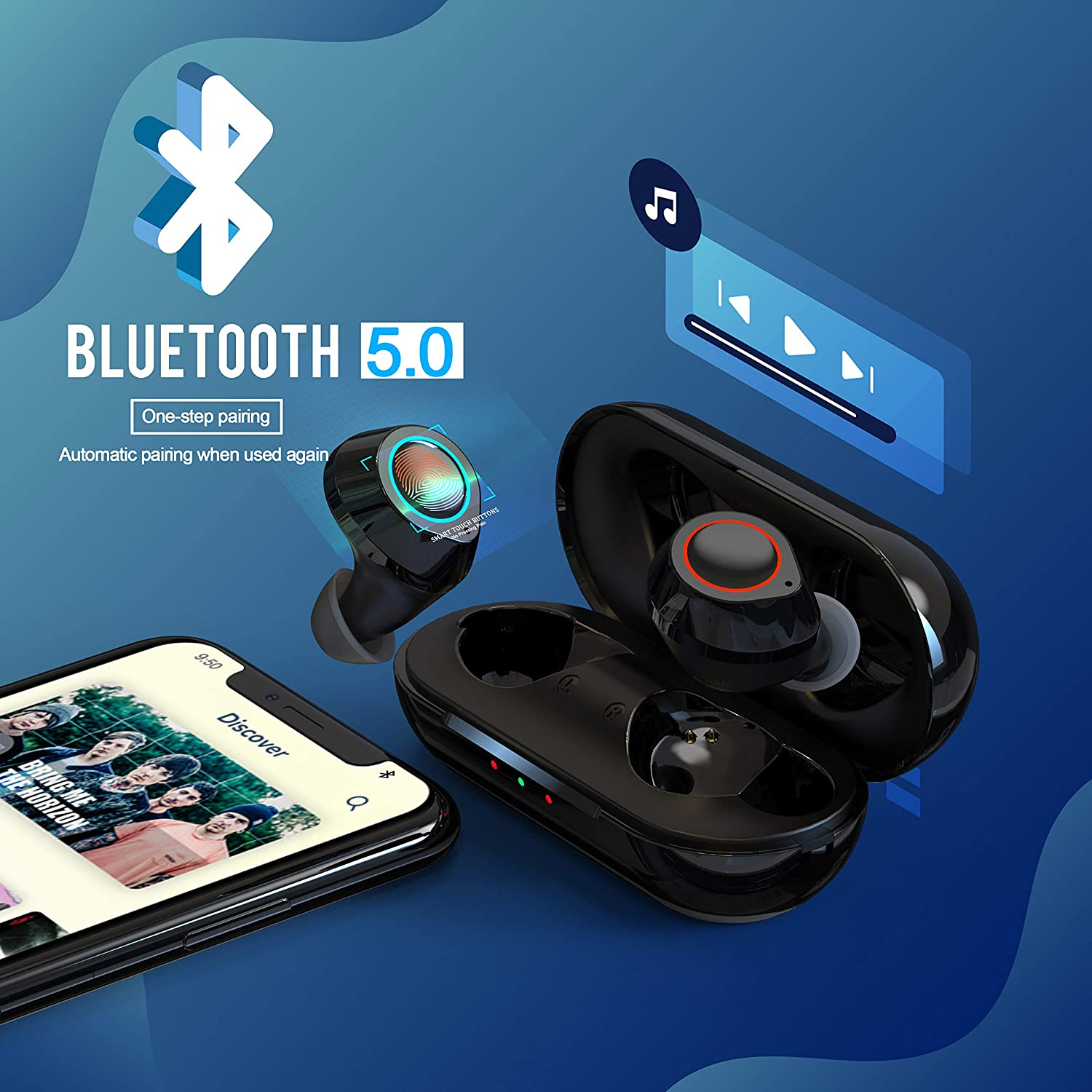 Wireless Bluetooth Earbuds JECOO T2S True Stereo Headphones in-Ear Buds Built-in Mic Headsets IPX5 Waterproof Premium Sound Earphones with Charging Case