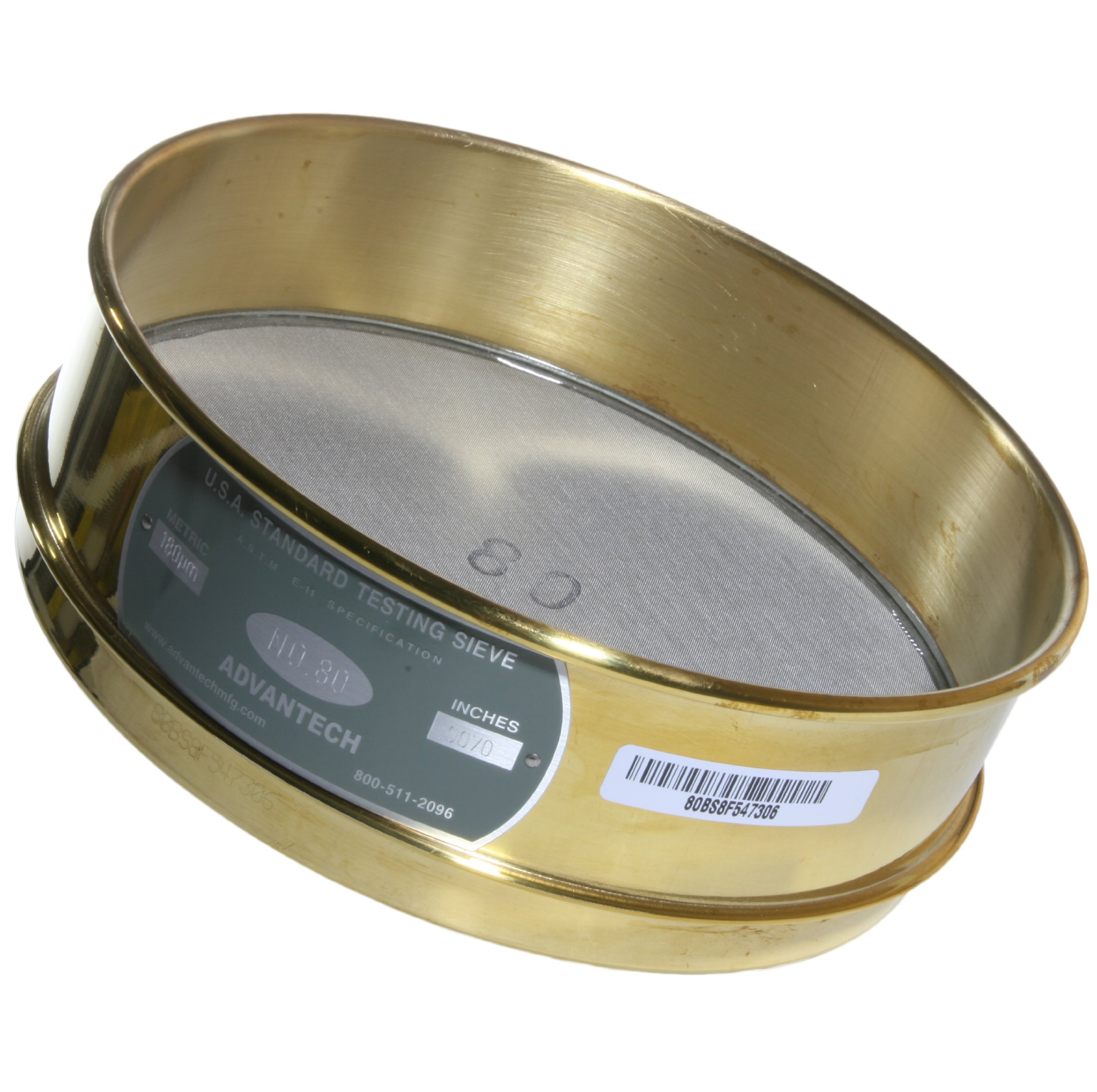 Advantech Brass Test Sieves, 8'' Diameter, #80 Mesh, Full Height by Advantech