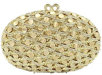 Fiesta Bolso Mujer Noche Bolsas Boda Carteras Brillo Mano Diamantes Cadena Embrague Dorado: Amazon.es: Equipaje