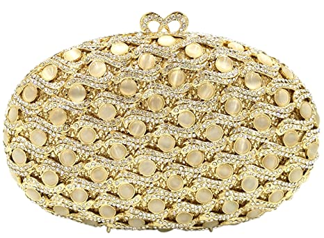 Fiesta Bolso Mujer Noche Bolsas Boda Carteras Brillo Mano Diamantes Cadena Embrague Dorado