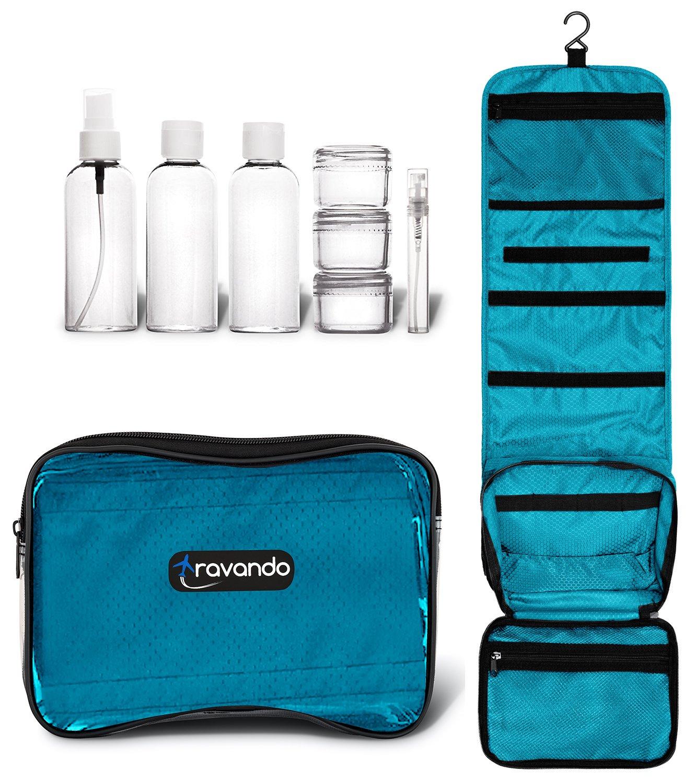 TRAVANDO ® Kulturbeutel zum Aufhängen FLEXI + 7 Flüssigkeiten-Behälter | Transparente Waschtasche, Durchsichtige Kulturtasche, Waschbeutel, Toilettentasche, Toiletttasche 3er Reise Set Herren Damen