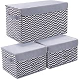 Joyoldelf Storage Bins with Lids, 3 Packs Storage Box Storage Bins for Closet Shelves Home Foldable Cloth Storage Cube…