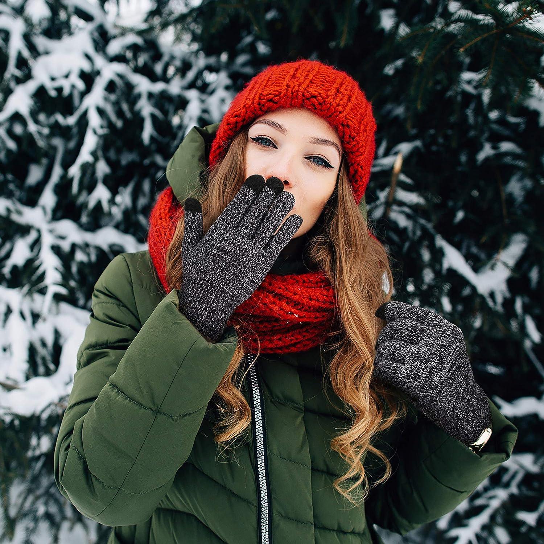 SATINIOR 4 Paar Winter Strickhandschuhe Strick Touchscreen Warme Handschuhe Anti-Rutsch Stretch Handschuhe f/ür M/änner und Frauen