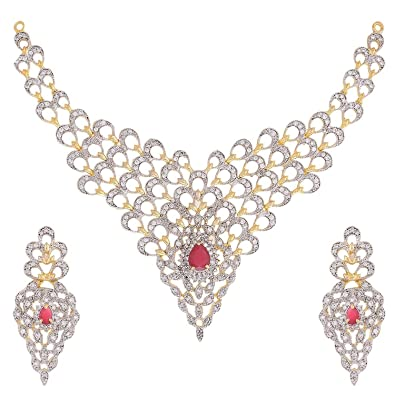 68a4a71b7 Buy YouBella Latest Traditional Jewellery Gold Plated and American Diamond  Jewellery Set for Women (Golden)(YBNK 47 FON) Online at Low Prices in India  ...