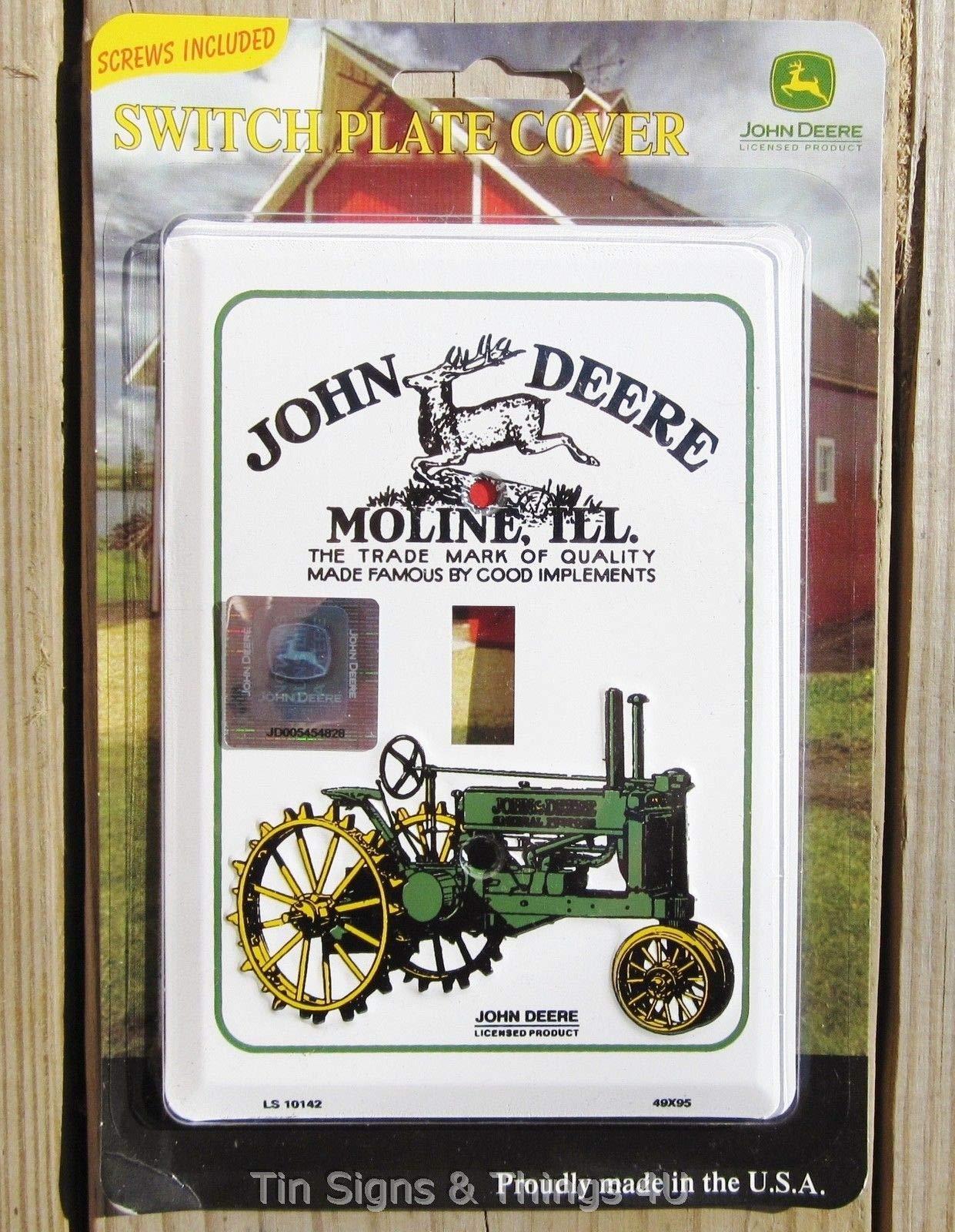 ShopForAllYou Vintage Decor Signs John Deere Light Switch Plate Cover Antique Vintage Tractor Garage Kitchen Decor