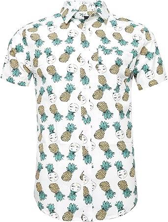 SOOPO Camisa para Hombre con Estampado de Piña Pequeña Aloha ...