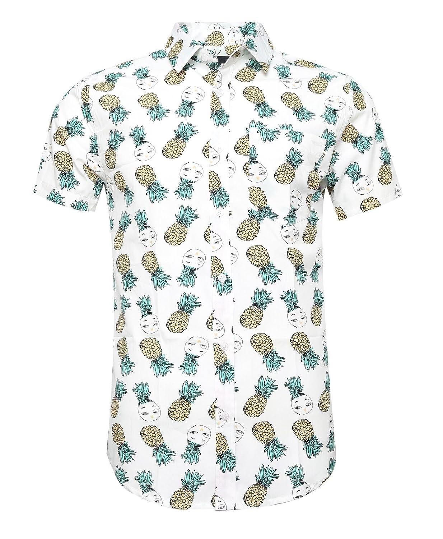 SOOPO Camicia Ananas per Uomo Camicie hawaiane Aloha, T-Shirt Estiva Bella e Confortevole