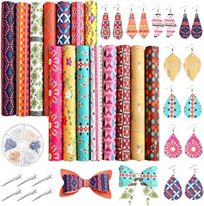 Caydo 15PCS Bohemian Style Faux Leather, Geometry Pattern PrintedLeather Sheets with Earring Hooks, Hair Clips for DIY Leather Earrings and Hair Bows (8.3 x 6.3 inch)