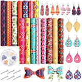Caydo 15PCS Bohemian Style Faux Leather, Geometry Pattern Printed Leather Sheets with Earring Hooks, Hair Clips for DIY…
