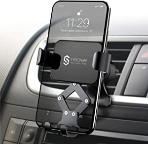 Syncwire Car Phone Mount, Air Vent Cell Phone Holder, Gravity Phone Car Mount Compatible with iPhone 11 Pro Max XS Max XR X 8 7 6s 6+ 6 Samsung Galaxy S10 S9 S8 and Smartphone Under 6.8 Inch