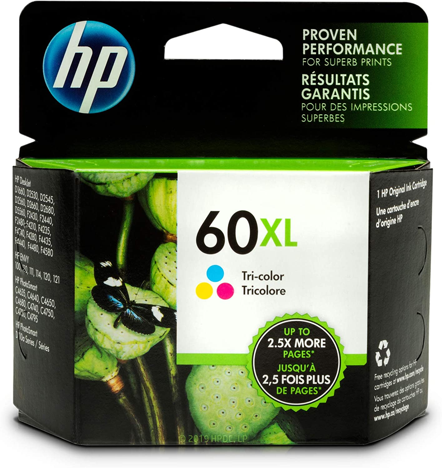 HP #60XL Color Ink Cartridge CC644W GENUINE NEW