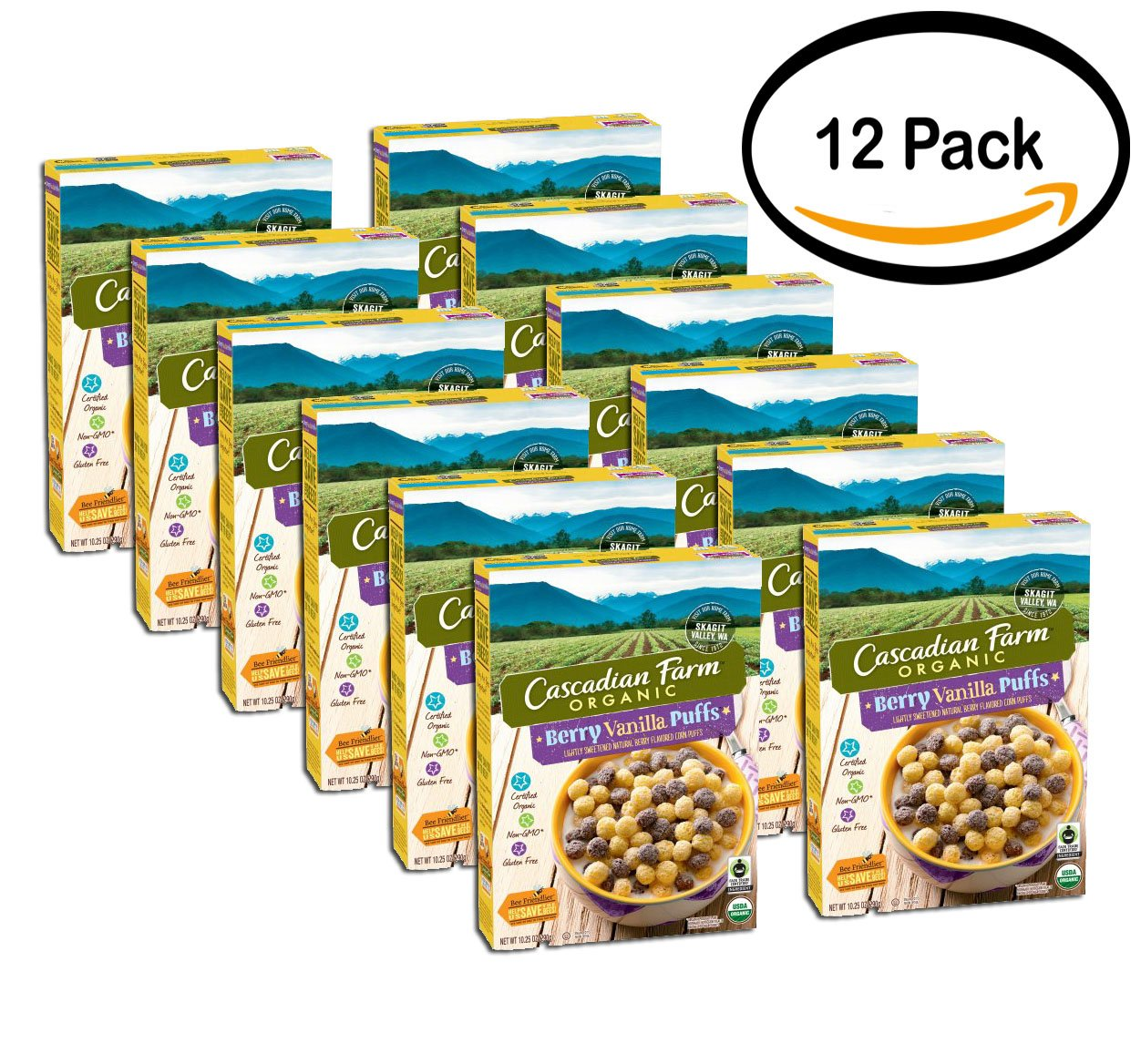 PACK OF 12 - Cascadian Farm Organic Berry Vanilla Puffs Gluten Free Cereal 10.25 oz. Box