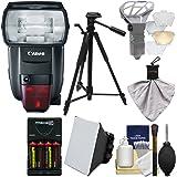 Canon Speedlite 600EX II-RT Flash Batteries & Charger + Tripod + Soft Box + Diffuser Bouncer + Kit