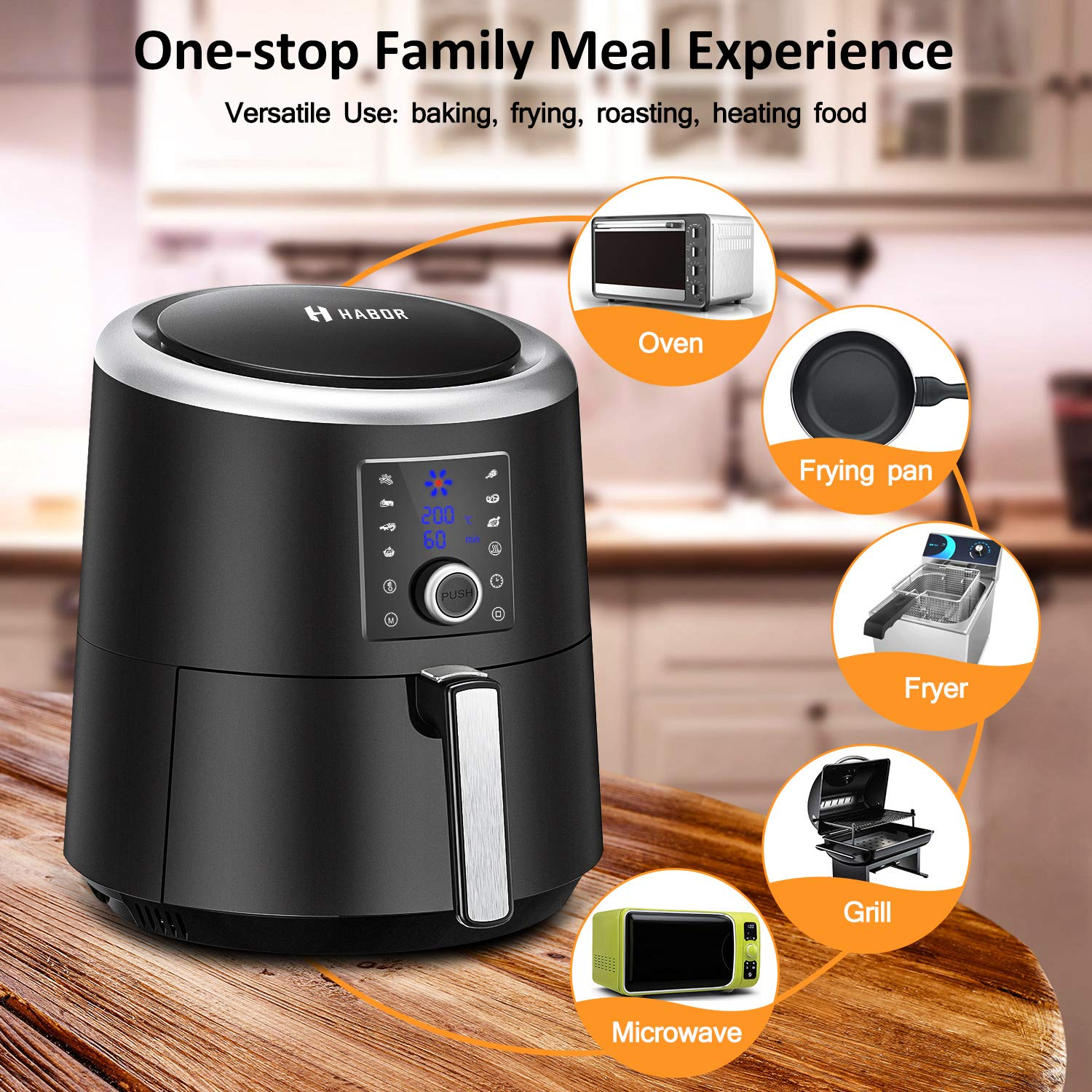 Nonstick Basket Break-point Memory Electric Hot Air Fryers Oven Oilless Cooker HABOR Air Fryer 3.6L 1500W with Neon Blue Display 2 Years Warranty for Healthy Oil Free /& Low Fat Cooking