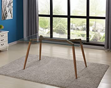 Amazon Com Ids Home Modern Clear Glass Top Dining Room Rectangular Table For 4 6 With Foot Pad Metal Leg Wooden Skin Frame For Home Office Kitchen Leisure Coffee Table Wooden Skin