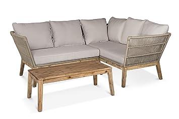 lanterfant® Lounge Kit Chris, eckset, salon de jardin, bois, ficelle ...