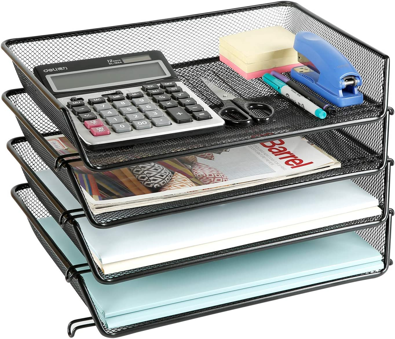 DESIGNA Stackable Metal Mesh Desk Trays 37 Tier File Document Letter Tray  Desk Organizer Desktop Paper Tray Rack for Home Office School Stacking