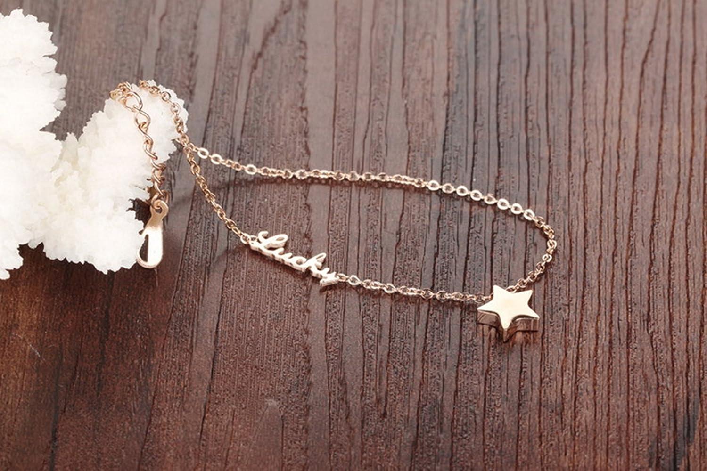 Epinki Femme Cha/îne de Cheville Or Rose Acier Inoxydable Bracelet Lucky /Étoile Bracelet de Cheville
