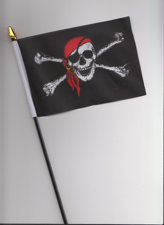 Pirata diseño de calavera y Crossbone pañuelo rojo mano de la bandera de 25 cm: Amazon.es: Hogar