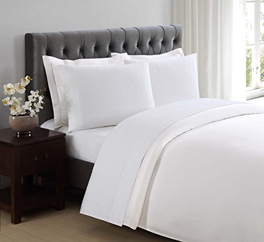 Charisma 310 Thread Count Classic Dot Cotton Sateen King Sheet Set in Bright White