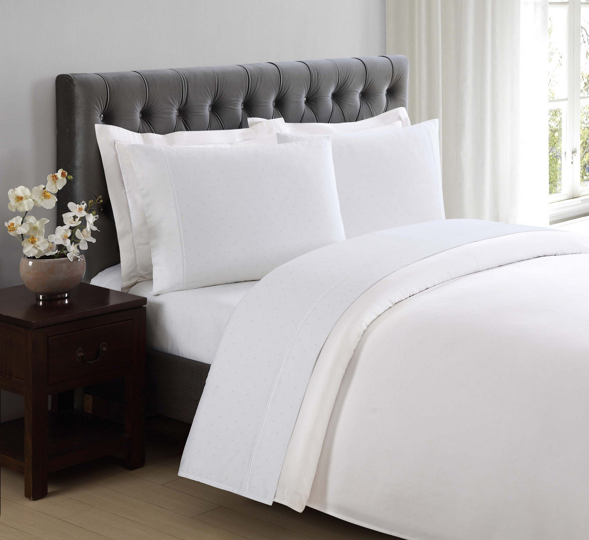 Charisma 310 Thread Count Classic Dot Cotton Sateen King Pillowcase Pair in Bright White by Charisma