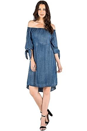 a6dbf62b8d2 Standards   Practices Modern Women s Denim Tencel Off Shoulder Peasant Dress  ...
