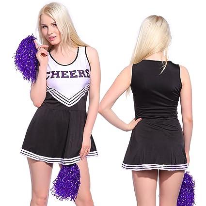 Anladia - Disfraz de Animadora Cheerleader para Adulta Mujer Mini Vestido sin Mangas con Letras ¨Cheers¨ Color Negro con Blanco Talla 36 38 40 42 44 ...