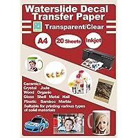 20 Sheets DIY A4 Inkjet Water Slide Decal Paper Sheets Transparent Clear for Inkjet Printer