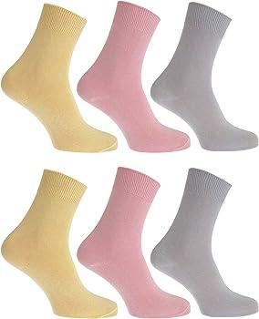 FLOSO- Calcetines lisos 100% algodón para mujer (pack de 6) (EUR 37-41/Blanco): Amazon.es: Ropa y accesorios