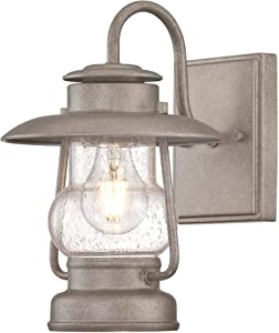 Westinghouse Lighting 6373800 Santa Fe One-Light Outdoor Wall Lantern, Weathered Steel Finish with Clear Seeded Glass Porch Light