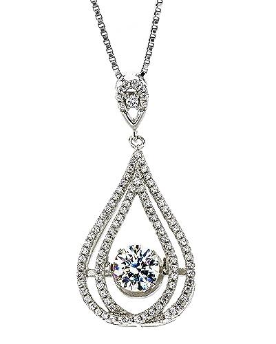 "a6e76b64b67 Central Diamond Center Nana Chandelier Dancing Stone CZ Pendant with 1mm  22"" Adjustable Box Chain"