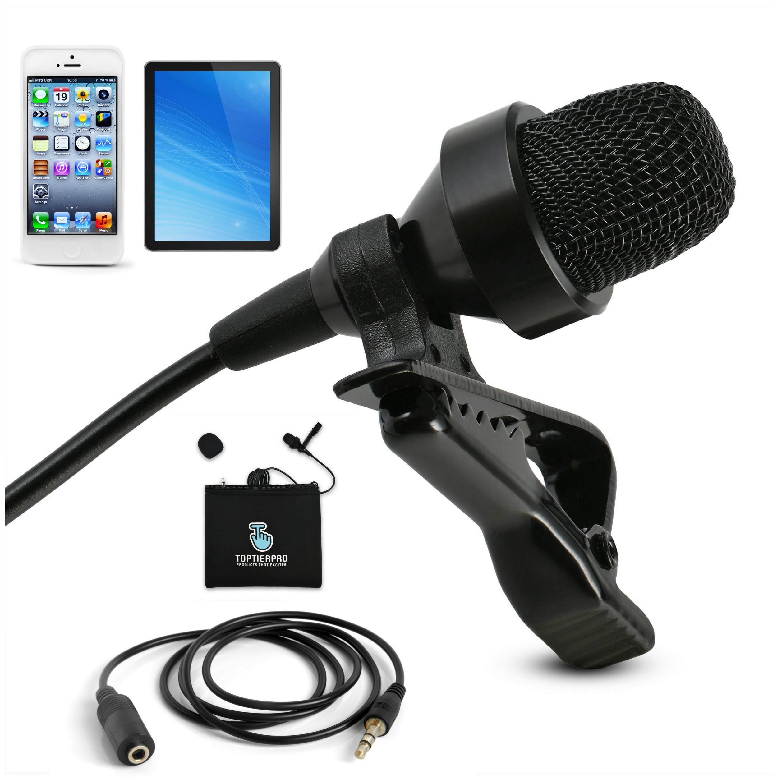 PRlME DAY SALE- Professional Mini Lavalier Microphone For iPhone & Android - Omnidirectional Lapel Mic Best For Recording Youtube, Video Conference, Podcast, Voice Dictation - [118 inches Extra Wire] by TOPTIERPRO