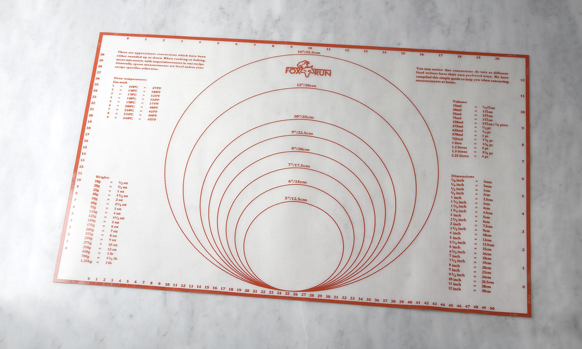 Fox Run 4724 Pastry/Baking Mat with Measurements, Silicone by Fox Run (Image #3)