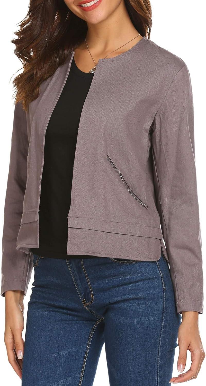 ELOVER Slim Womens Print Blouse Fashion Baseball Coat Zipper Jacket S-XXL