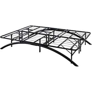 Flex Form Arched Platform Bed Frame / Metal Mattress Foundation, Black, Queen