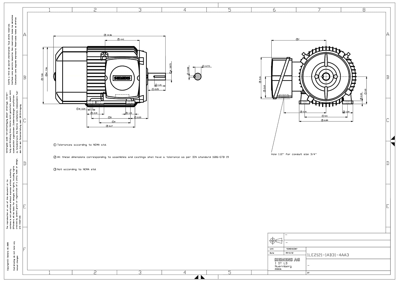Aluminum Rotor Siemens HI 1LE2121-1AB31-4AA3 Siemens 1LE21211AB314AA3 1 5-HP 1800 Rpm 230//460-volt 145t General Purpose Electric Motor Nema Premium Efficient Aluminum Frame