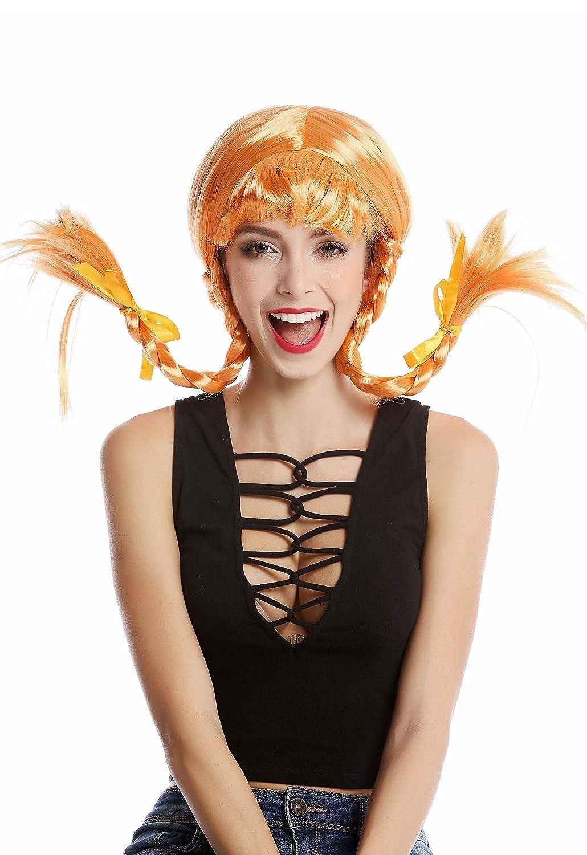 WIG ME UP ® - DDH-T8175-PC21 Peluca Mujer Carnaval Halloween Chica atrevida Naranja roja Flequillo 2 Trenzas Trenzado: Amazon.es: Juguetes y juegos