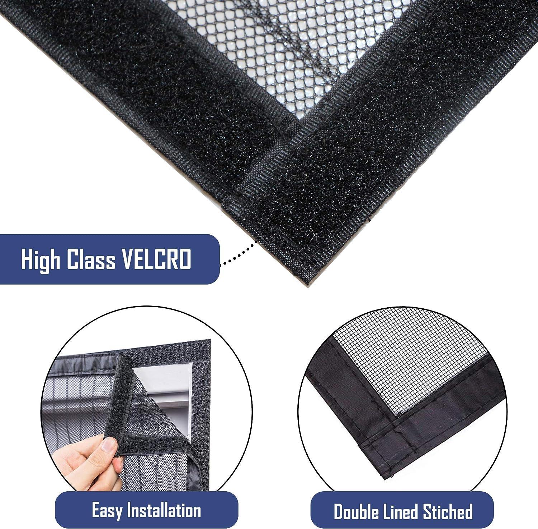 HINTO /écran magn/étique porte maille rideau mouche 100 cm x 210 cm 26 aimants puissants invisibles maille de polyester noir robuste et durable avec tapette /à mouches