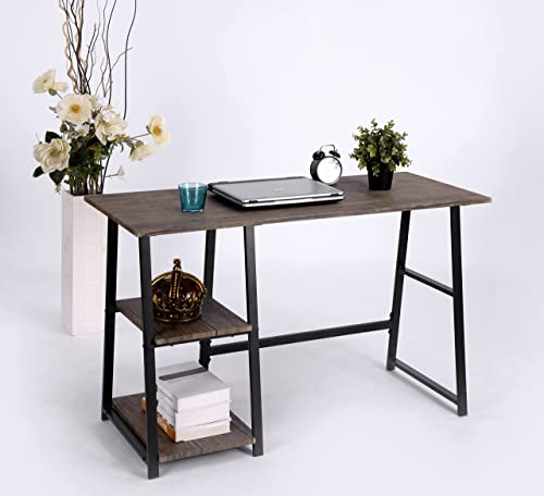 Vintage Brown Finish Computer Writing Study Trestle Desk Modern Vintage Home Office
