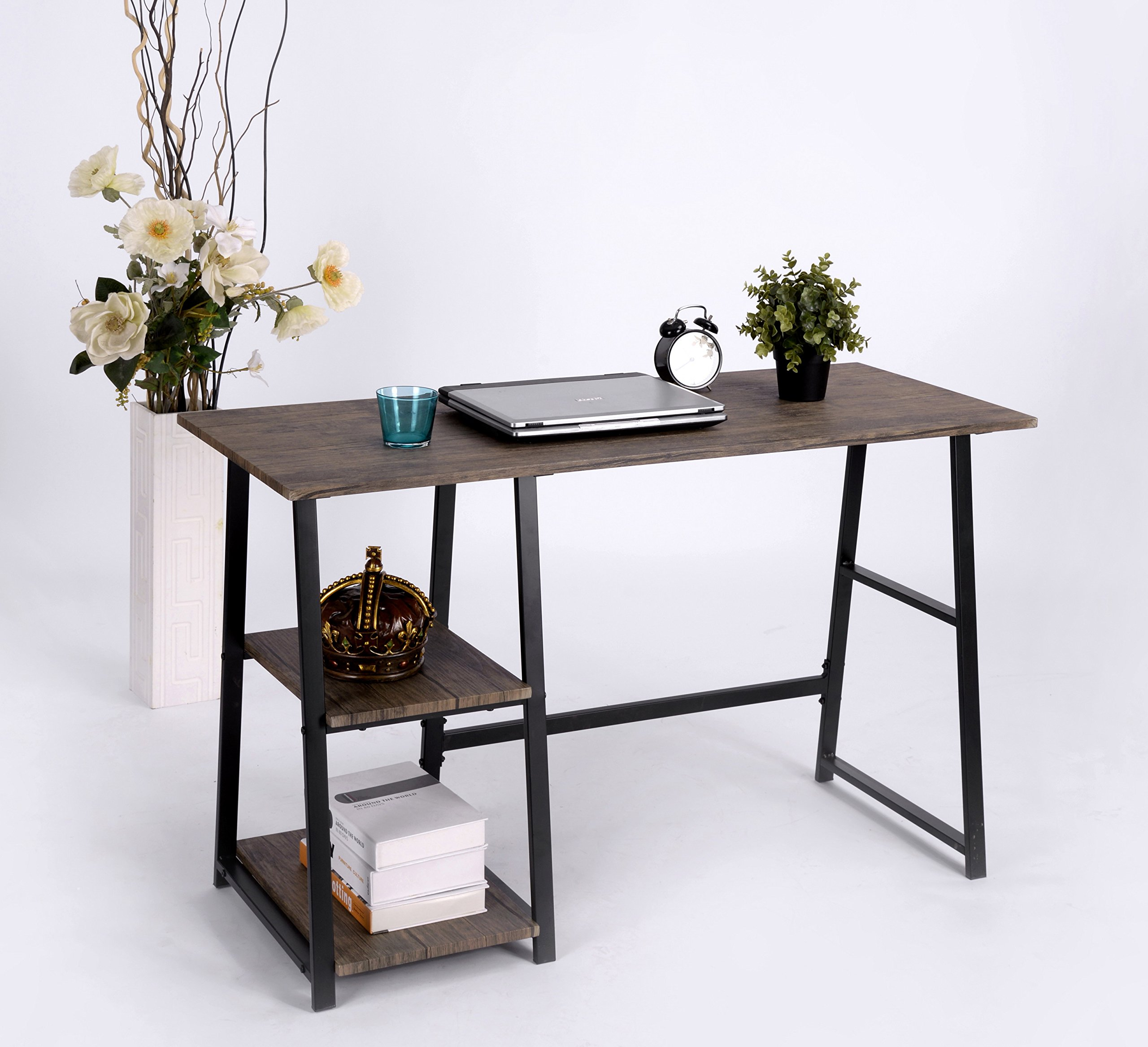 Vintage Brown Finish Computer Writing Study Trestle Desk Modern Vintage Home Office by eHomeProducts