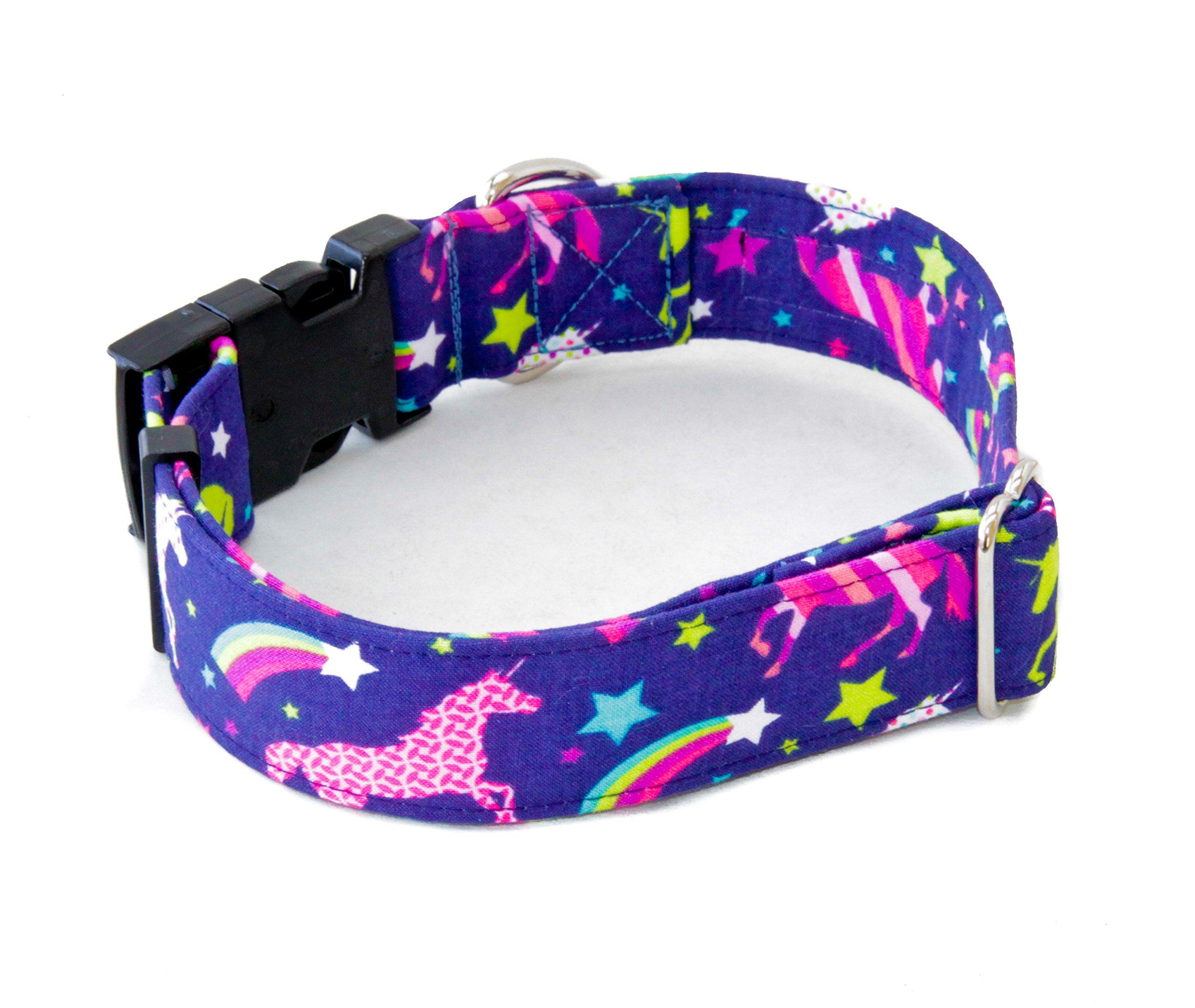 "Unicorn Rainbows Dog Collar 1.5"" - 2"" Widths Buckle & Martingale 3"