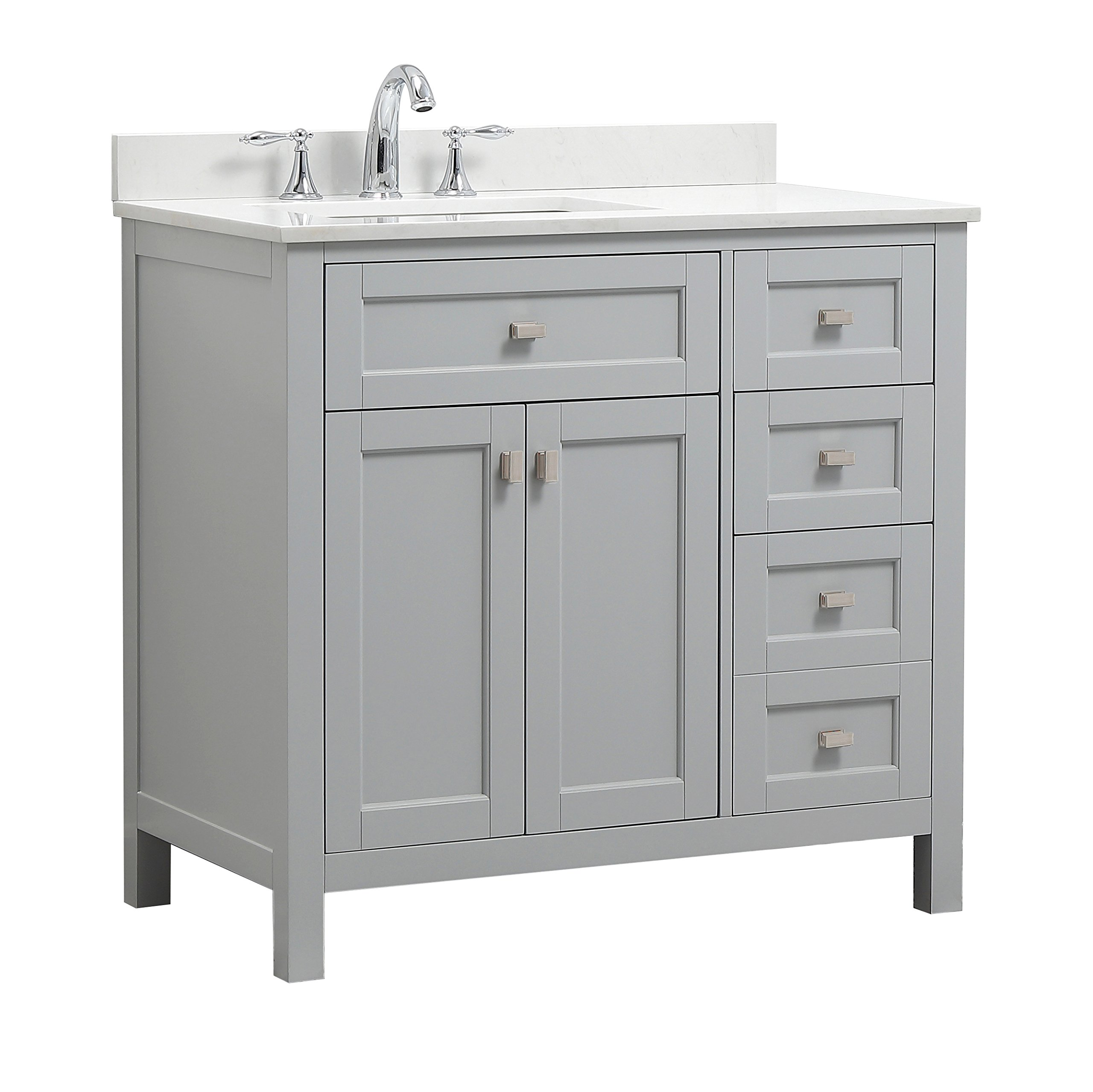 CAHABA CA101013 Juniper Collection Vanity with Top, Dove Grey Vanity, White Top, White Basin