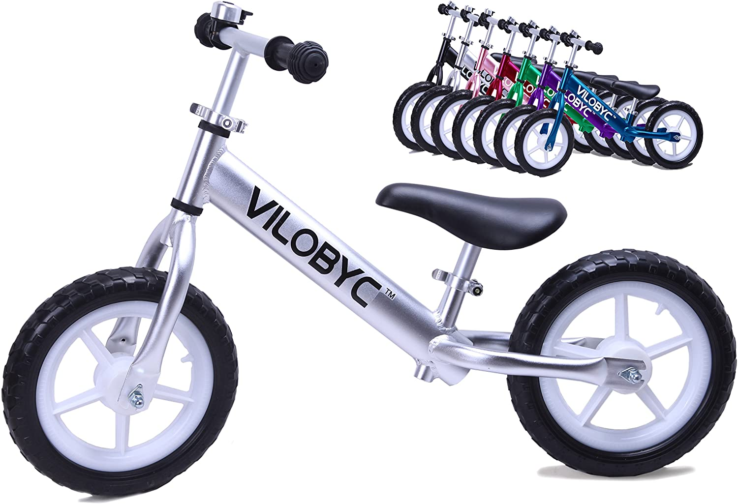 VILOBYC 12 Anodised Aluminium Alloy Kids Push Ultralight Balance Bike (4.3 lbs) Child 18 Month to 5 Years Old Bicycle 2018
