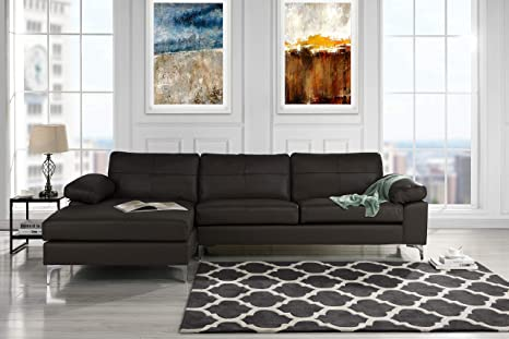 Leather Sectional Sofa, L-Shape Couch with Chaise (Dark Brown)