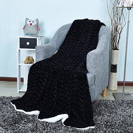 EHC - Manta para sofá (200 x 240 cm, Piel sintética de visón, tamaño Extra Grande, para sofá de 3 plazas o Cama King Size), Color Negro