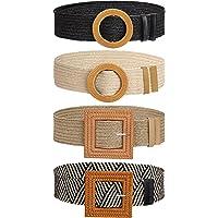 Cinturón de Vestir Tejido, Cinturón Vintage Flaco Bohemio con Hebilla de Madera, Decorativo Casual Amplio Cinturilla…
